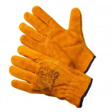 Перчатки цельноспилковые DRAIVER LUX GWARD(прошиты огнеупорной нитью,цвет рыжий,натуральный спилок)