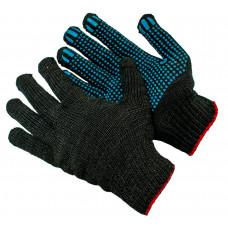 Перчатки полушерстяные двойные с ПВХ черные