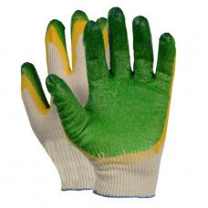 Перчатки Х/Б двойной латексный облив (жёлтый/зеленый) 13класс вязки